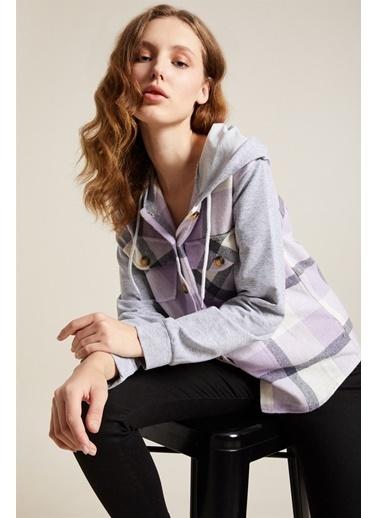 Z Giyim Kapüşonlu Sweat Kollu Oduncu Gömlek Lila
